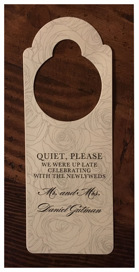 erickson design door hanger for weddings