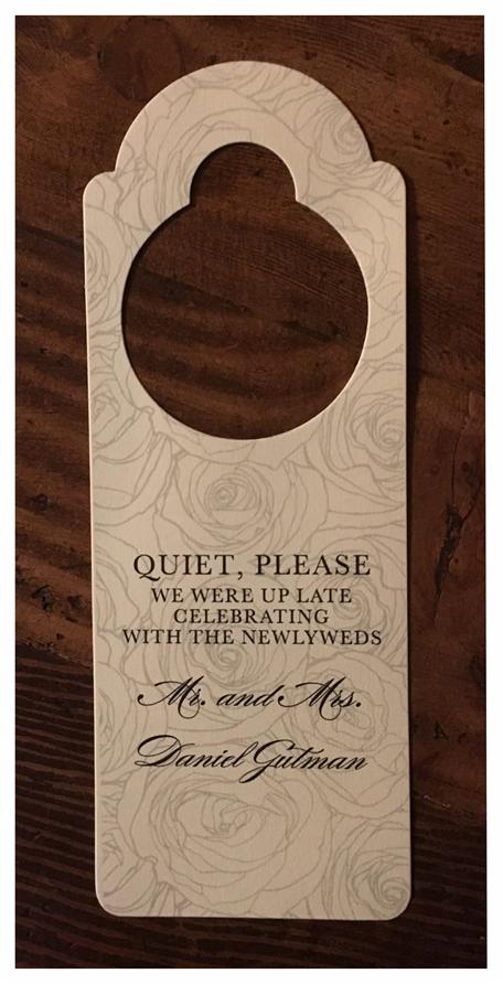 erickson design door hanger for weddings