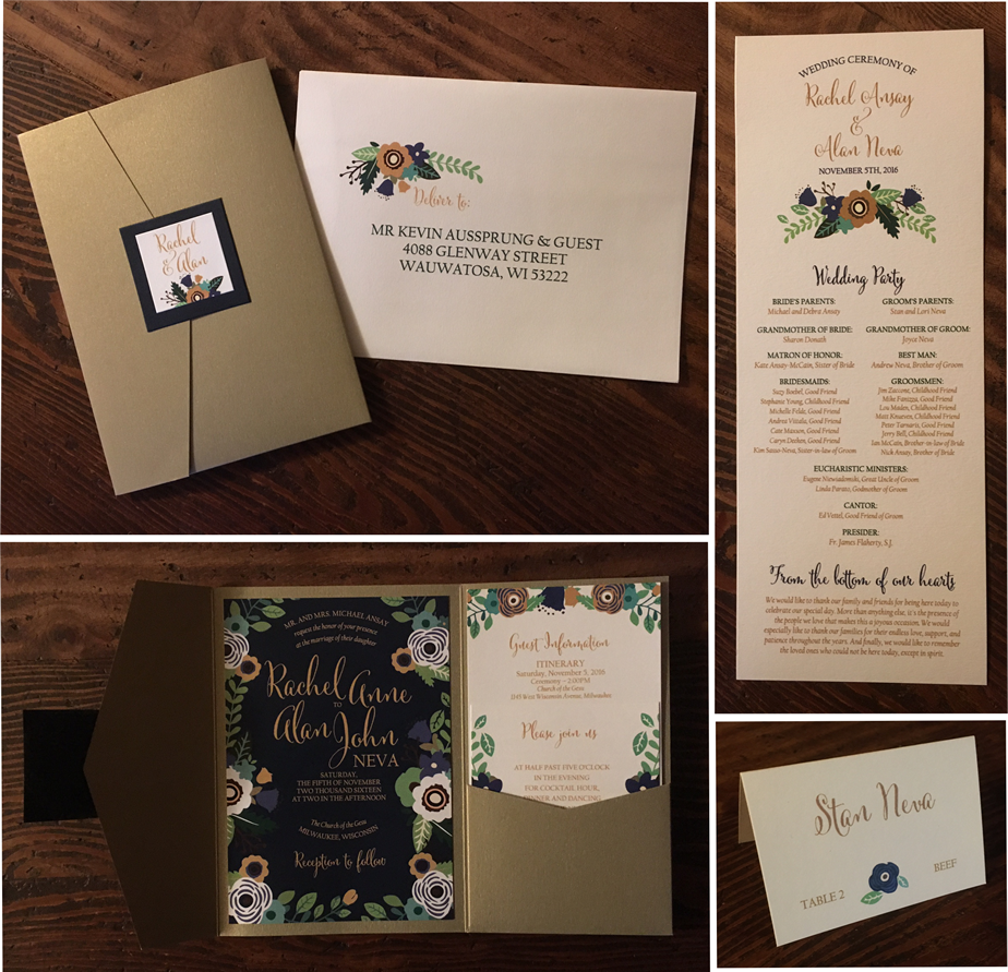 erickson design flower fern gold pocket invitation