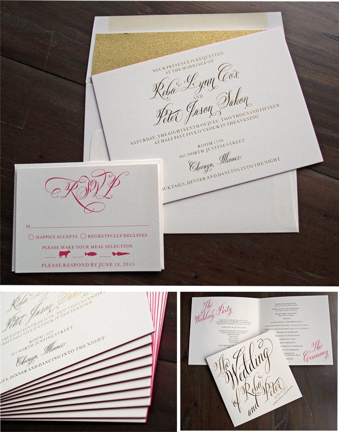 erickson design foil printed edge painted wedding invitation and program
