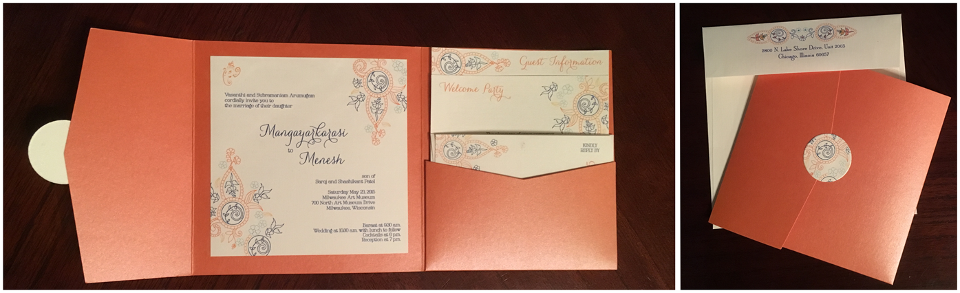 erickson design indian paisley orange pocket invitation set