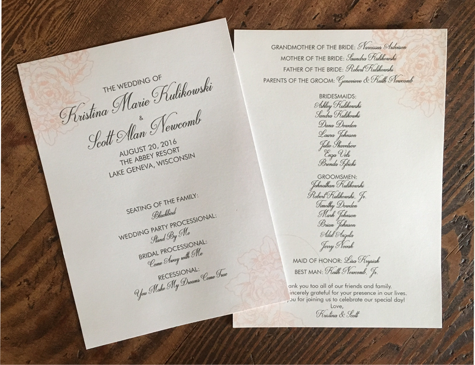 erickson design pink rose silver wedding ceremony program
