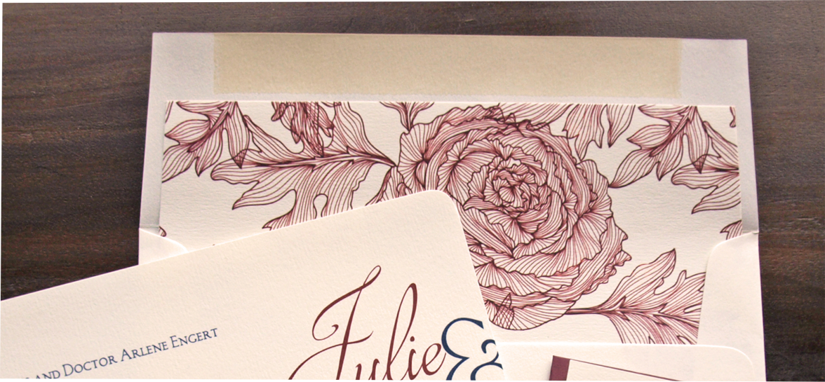 erickson design rose drawing wine envelope liner