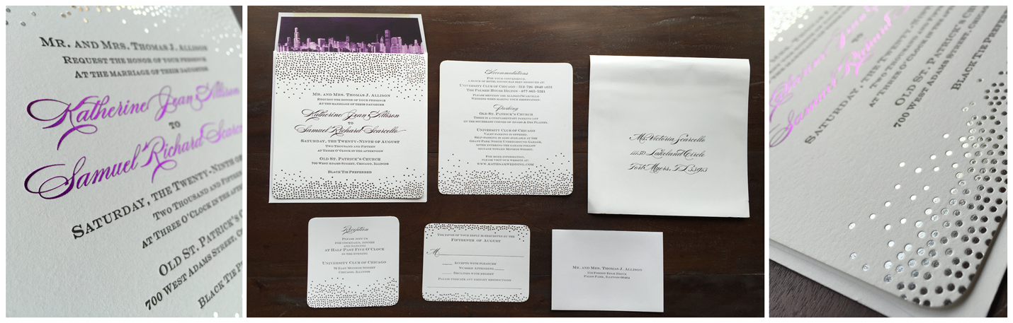 erickson design silver and purple foil wedding invitation set rounded corners skyline envelope liner