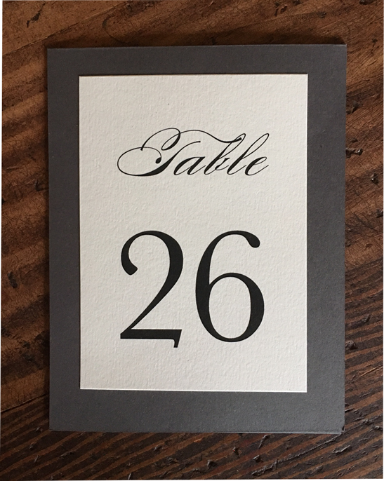 erickson design table number charcoal and cream classic