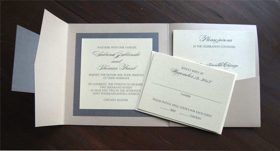 erickson design taupe and charcoal pocket fold wedding invitation