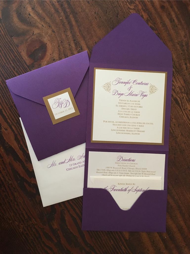 erickson design violet purple pocket fold wedding monogram invitation set