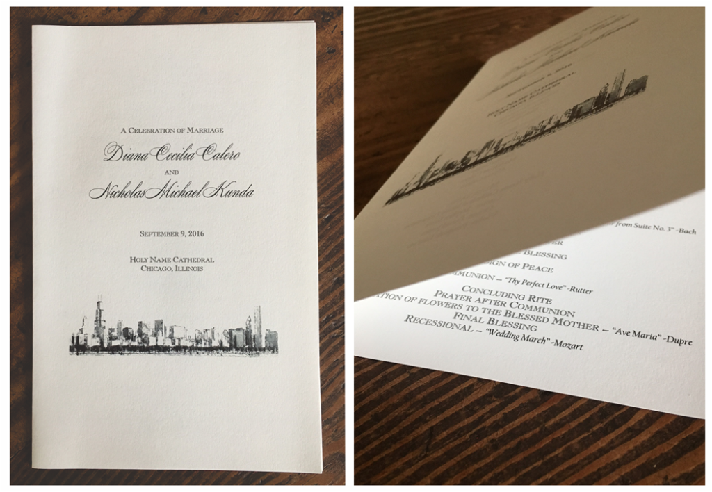 erickson design wedding ceremony program chicago skyline traditional