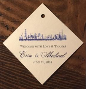 erickson design wedding favor tag chicago skyline