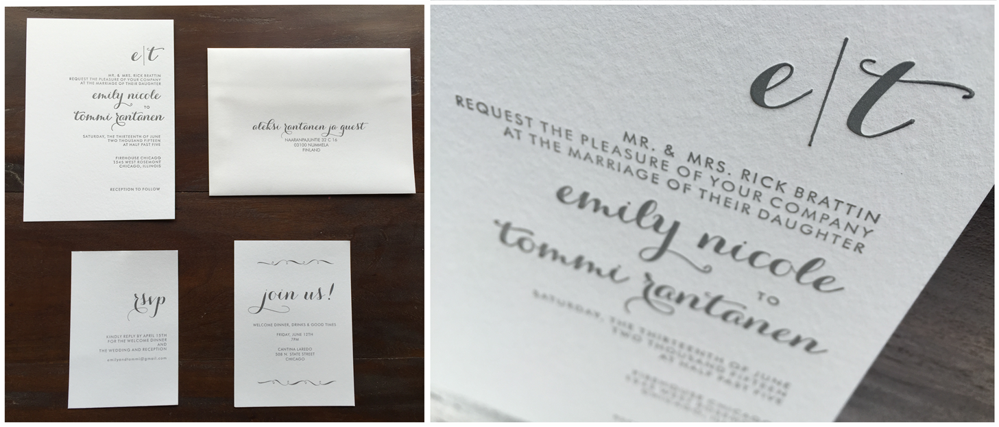 Letterpress Wedding Invitations – Erickson Design