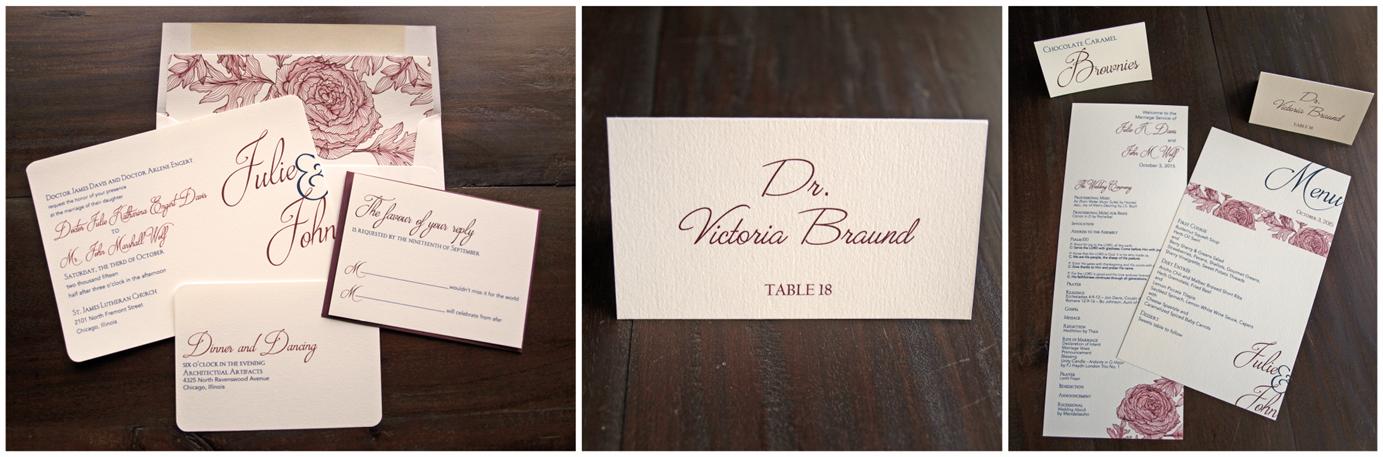 erickson design wedding invitation suite vintage rose