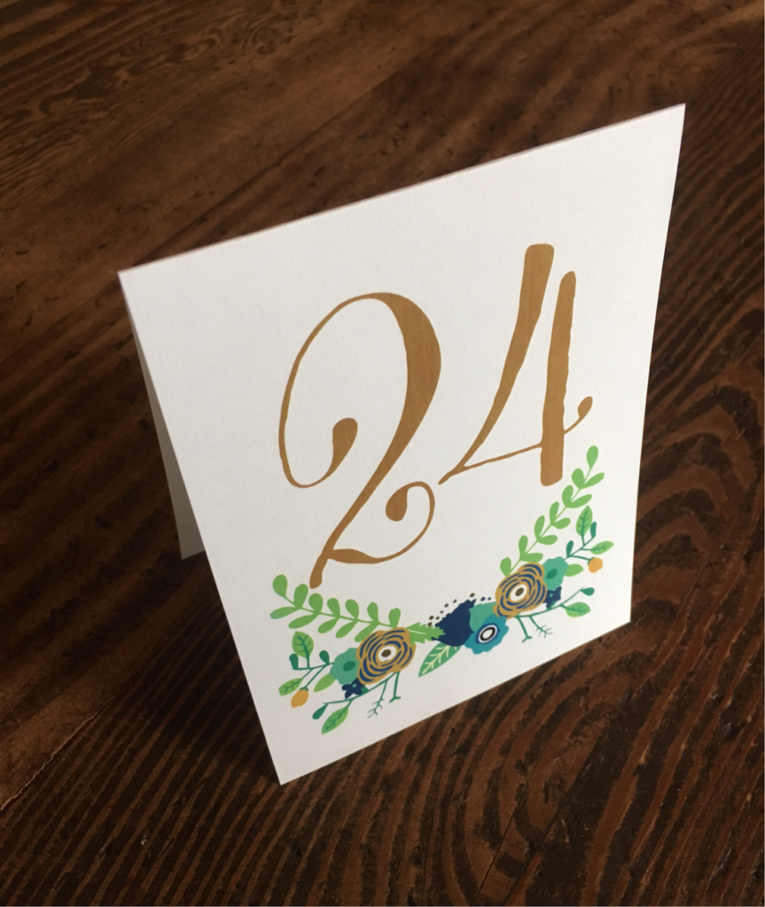 erickson design wedding table number with flowers