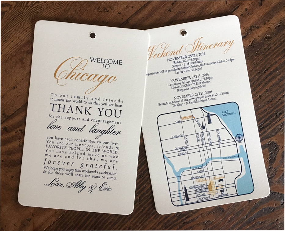 erickson design wedding welcome bag letter chicago custom map navy and gold