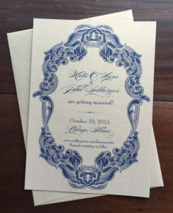 ornate save the date gold navy erickson design